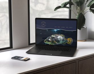 laptop with website design of Great Barrier Reef Giant Grouper